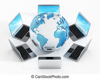 Laptop computers standing around the globe. 3D illustration