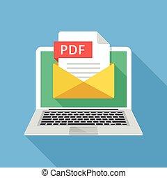 laptop, con, busta, e, pdf, file., quaderno, email, con,...