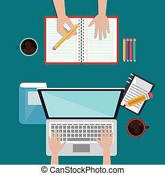 laptop, con, educazione, facile, e-imparando, icone