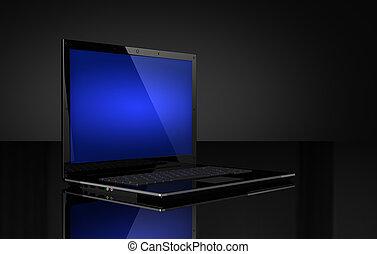 laptop, con, schermo blu, su, nero