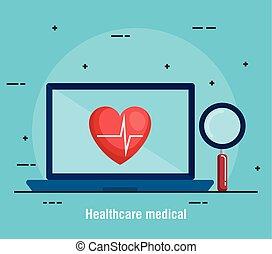 laptop, con, telemedicine, icone