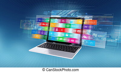 laptop, conceito, computador, internet