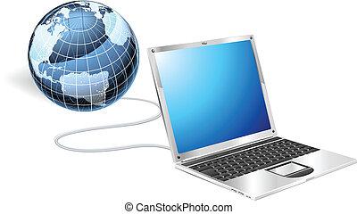 laptop, conceito, globo