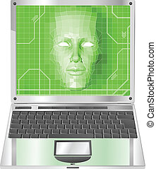 laptop, conceito, ilustração, mulher