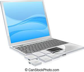 laptop, conceito, pedaços