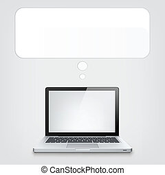 Laptop Concept. Grey Vignette Background. Vector EPS 10.