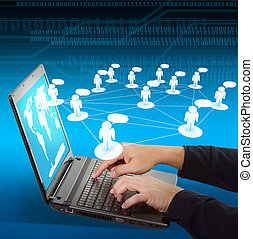 laptop, concetto, networking, sociale