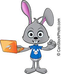 laptop, -, coniglio, presa a terra, cartone animato