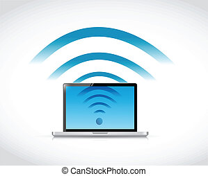 laptop connection wifi illustration design over a white ...