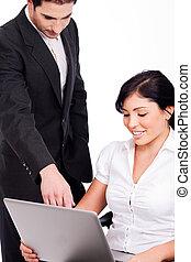 laptop, corporativo, persone lavorare