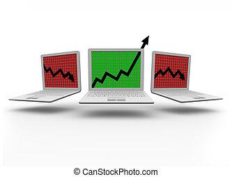 laptop, crescita, computer, freccia