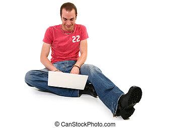 laptop, człowiek, podłoga