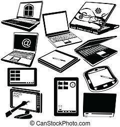 laptop, czarnoskóry, tabliczka, ikony