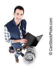 laptop, czysty, elektryk, screened