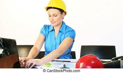 laptop, długość mierzona w stopach, samica, używając, biuro, architekt