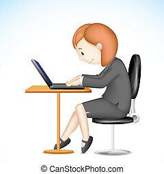 laptop, dama, handlowy, pracujący