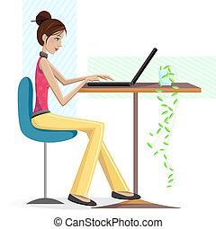 laptop, dama, pracujący