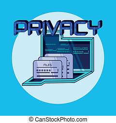 laptop data privacy icon vector illustration design