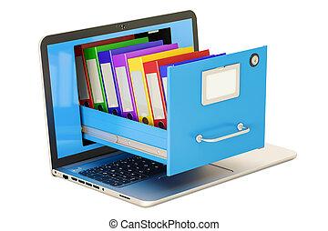 laptop, data, storage., notesbog, hos, chartekker, ind, arkivere kabinet, 3, gengivelse