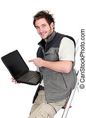 laptop, dekarz, pokaz, ekran, czysty