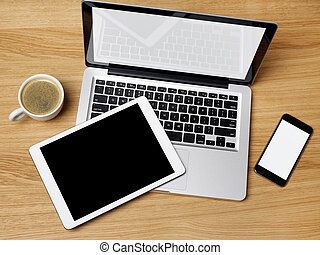 Laptop, digital tablet and mobile phone