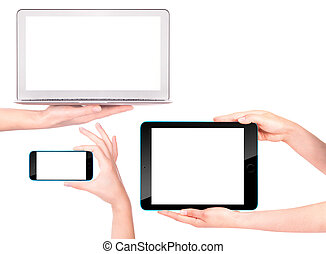 laptop, digital tablet and mobile phone with hand