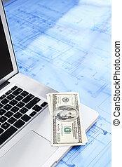 laptop, dinheiro, e, blueprint