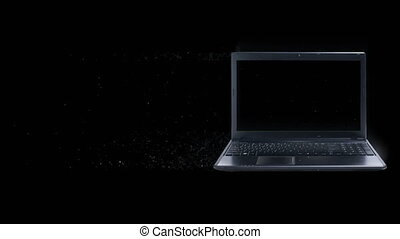 Laptop dispersion. 3d Rendered. Just add your title, text, wishes or logo