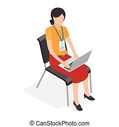 laptop, distintivo, femmina, lavorativo, seduta