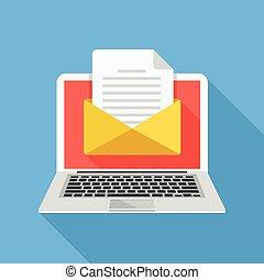 laptop, documento, envelope
