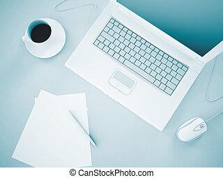 laptop, dokumente, und, bohnenkaffee, als, geschaeftswelt, hintergrund