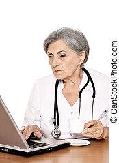laptop, donna, anziano, lavorativo, dottore