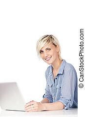laptop, donna, attraente, giovane