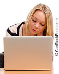 laptop, donna, concentrare, giovane, lei