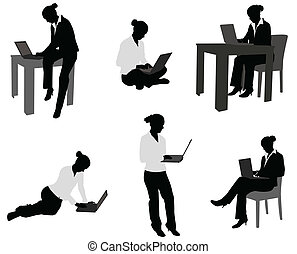 laptop, donna, lavorativo, lei