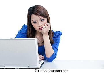 laptop, donna, lavorativo, stanco