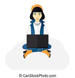 laptop., donna sedendo