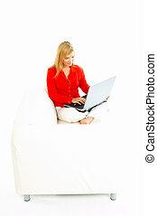 laptop, donne, divano