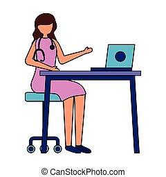 laptop, doutor, femininas, trabalhando, escrivaninha