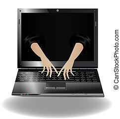 laptop, due mani