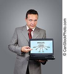laptop, dzierżawa, człowiek