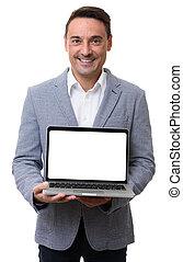 laptop, dzierżawa, czysty, szczęśliwy, ekran, człowiek