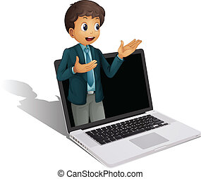 laptop, e, homem