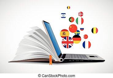 laptop, e, livro, como, dicionário online, -, e-aprendendo, online, língua, aprendizagem, sistema
