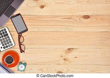 laptop, e, material, escritório, desktop