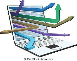 laptop, e, setas, conceito, desenho