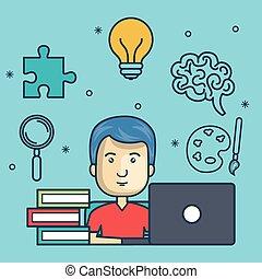 laptop, educazione, disegno, tipo, linea