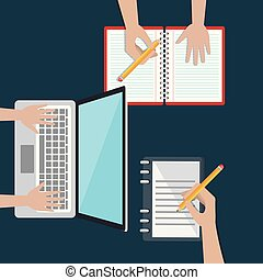 laptop, educazione, e-imparando, facile, icone