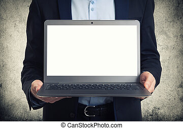 laptop, ekran, czysty