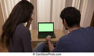laptop, ekran, urlop, młody, zielony, online, używając, para, miejsce, szczęśliwy